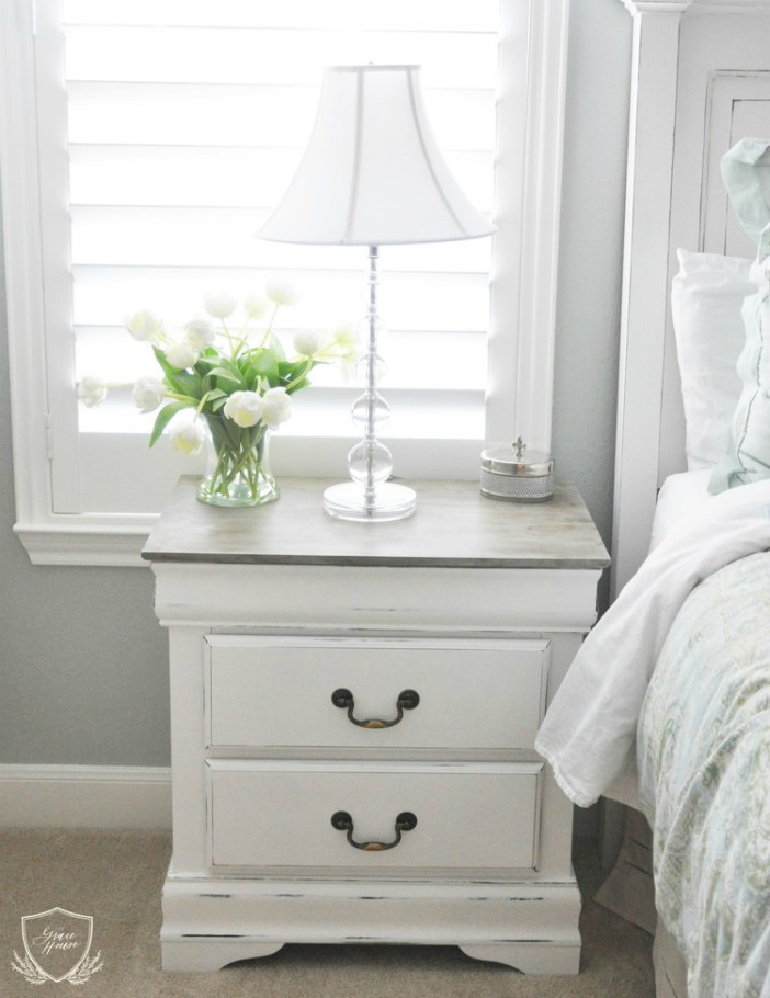 white and gray nightstand
