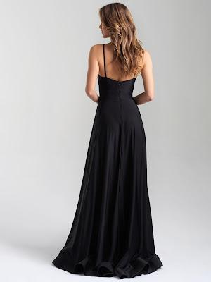 V-neck Madsion James Prom Dresses Black color back side