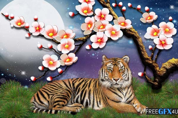 3D Tiger PSD Wall Background