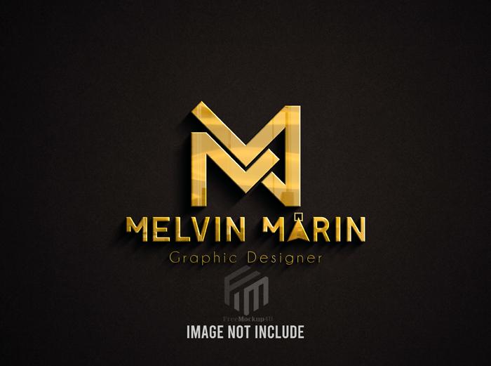 Golden Logo Mockup Against Brown Surface