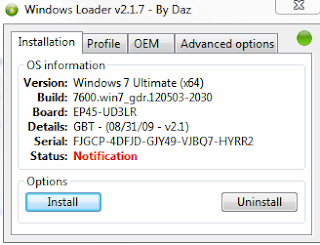 Windows Loader, Status: Notification