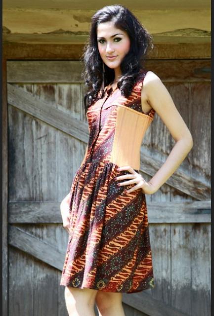 mini dress batik kombinasi
