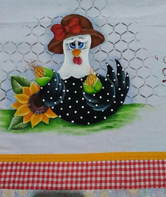 semaninha de galinha - galinha com girassol e espigas de milho