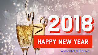 New year 2018 wishes in English glasses with drinks Sparkling stars BG and bubbles in glass with drinks
