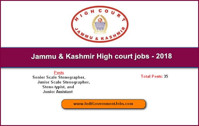Jammu & Kashmir High court jobs – Total jobs 35 – Apply Now