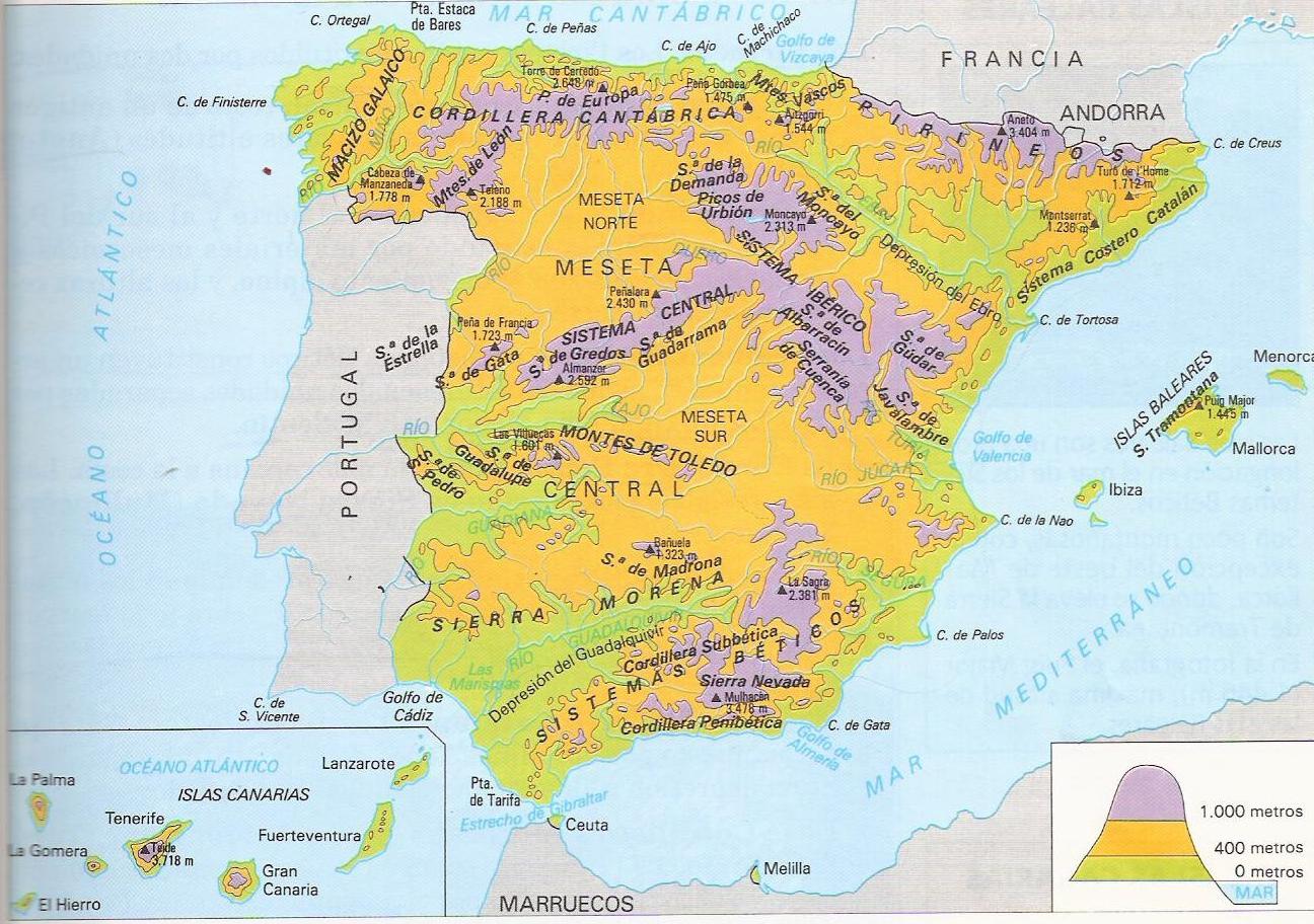 Mapa Picos De España.El Blog De 3ºb El Relieve De Espana El Interior Peninsular