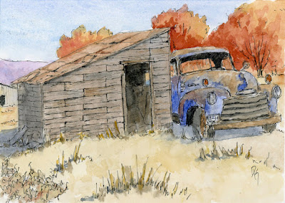 pen watercolor sketch autumn rural shed chevy truck