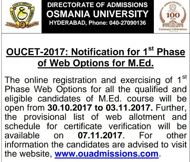 OUCET 2017 M.Ed Web Options Certificate Verification Schedule