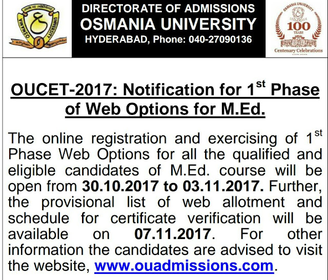 OUCET 2017 M.Ed Web Options Certificate Verification Schedule