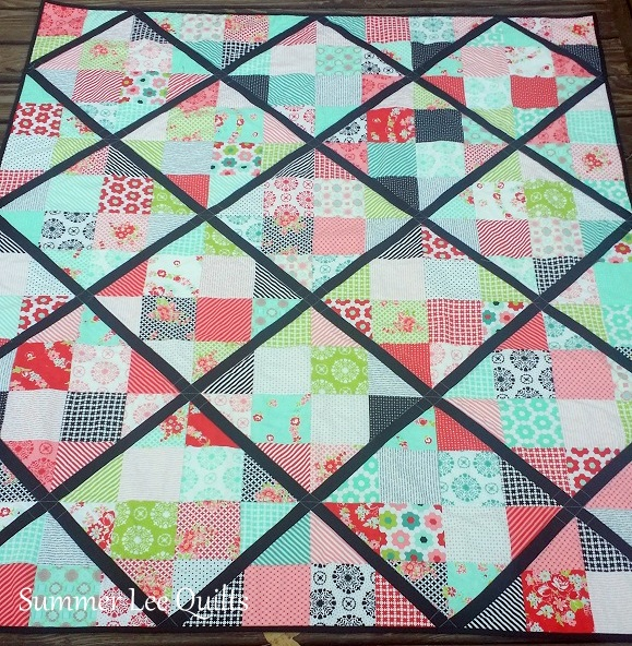 Summer Lee Quilts Four Patch Lattice A Finished Quilt