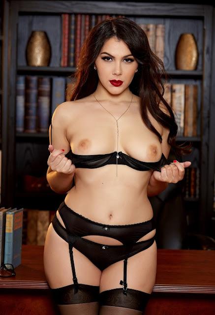 Valentina Nappi black stockings naked tits