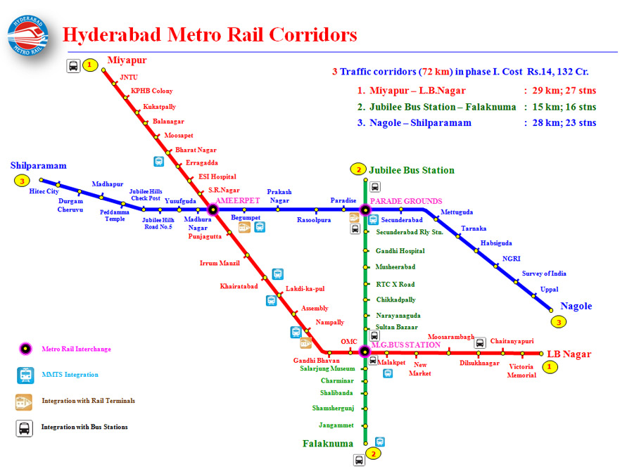 Hyderabad Metro Rail Stations Map List of Metro Stations in Hyderabad