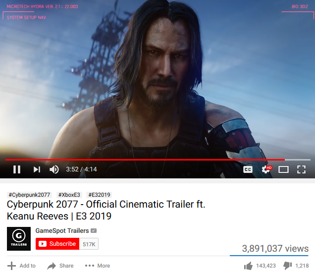 Cyberpunk 2077 Johnny Silverhand Keanu Reeves E3 2019 trailer