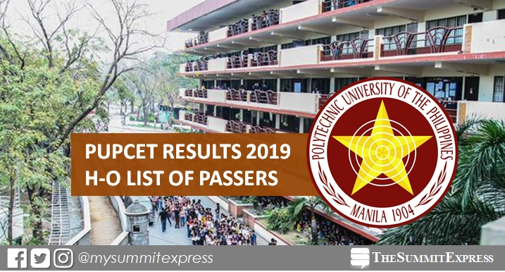 H-O Passers: PUPCET Results AY 2019-2020