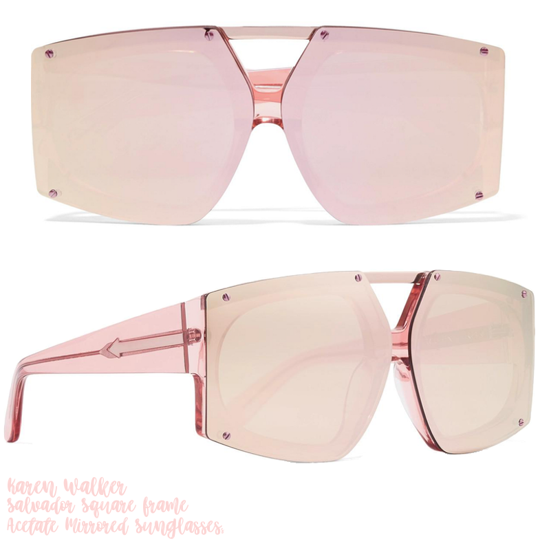 Karen Walker Salvador Square-Fame Acetate Mirrored Sunglasses