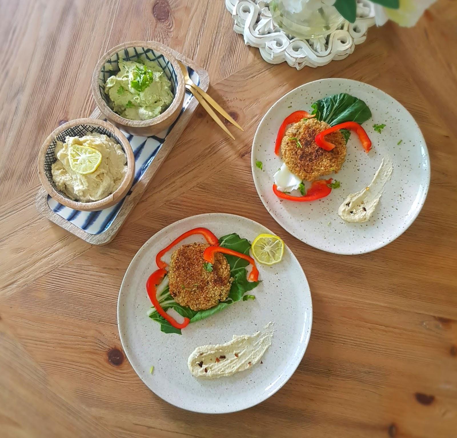 High protein vegan meals - Vegan quinoa cutlet with hummus - Healthy vegan lunch