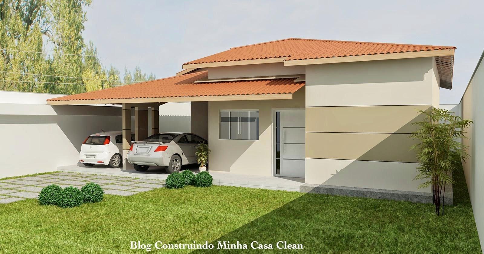 Construindo minha casa clean fachadas de casas t rreas for Casas modernas 4 aguas