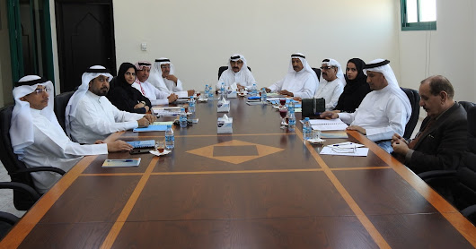 The Board of Umm Al Quwain Chamber discussing the procedures for the construction of the new chamber building