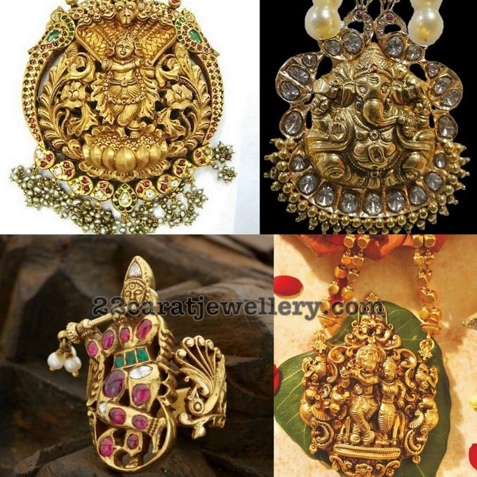 Antique Radha Krishna And Ganesh Pendants Jewellery Designs