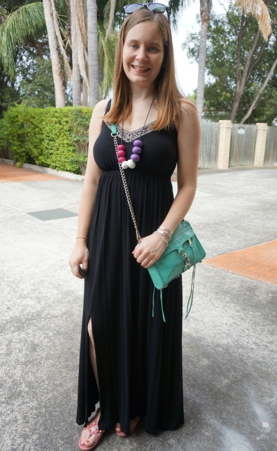 embellished black maxi dress, colourful silicone necklace and Rebecca Minkoff crossbody mini MAC Bag | AwayFromBlue