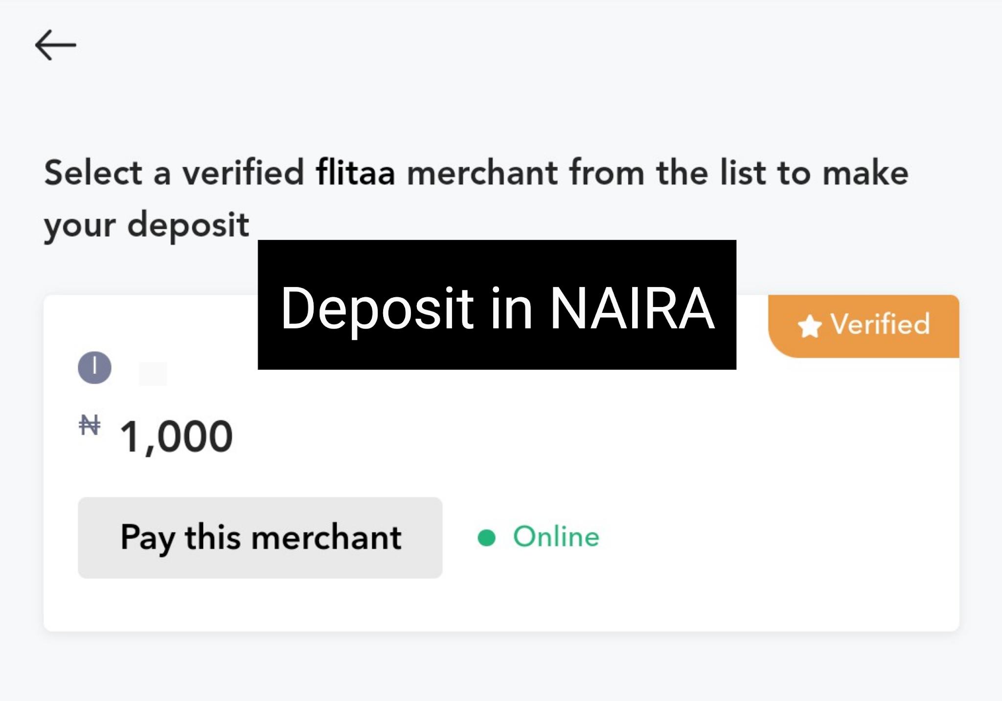 Deposit naira to buy crypto in Nigeria on flitaa