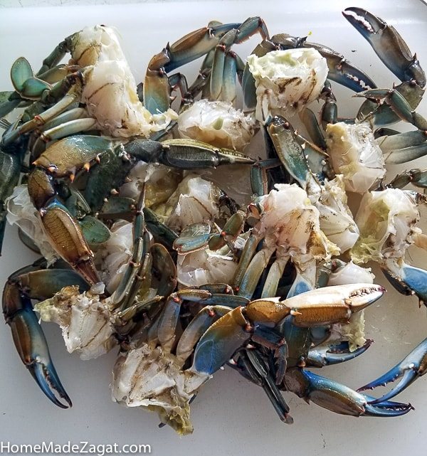 Batch of blue cleaned crab
