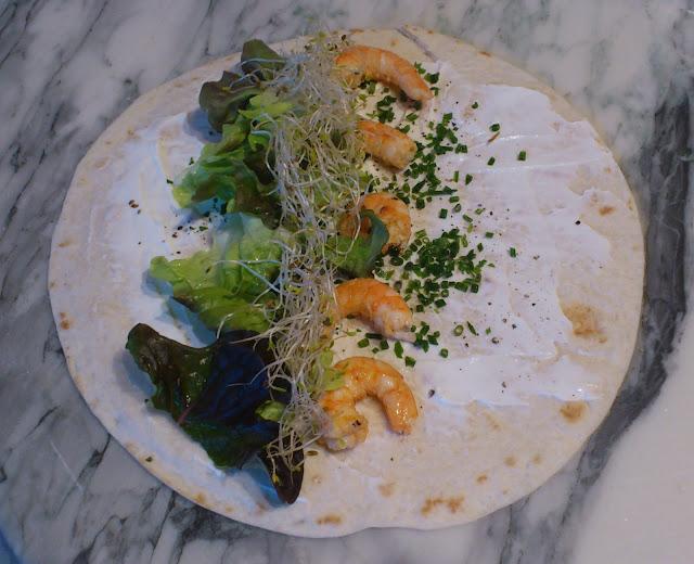 Wrap crevettes et graines germées