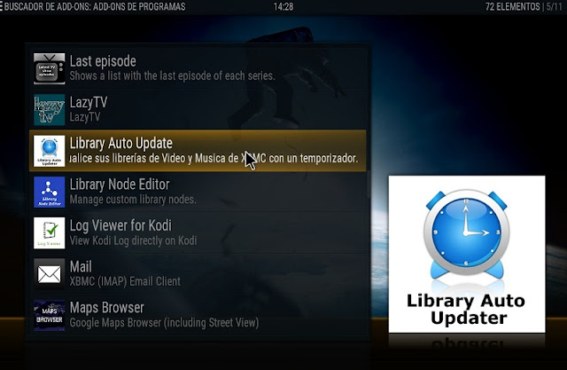 Instalar LIBRARY AUTO UPDATER en kodi