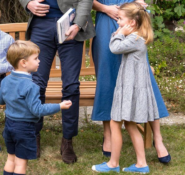 Kate Middleton wore a belted denim midi shirt dress by Gabriela Hearst. Princess Charlotte,  Prince Louis. Prince George wore a shirt by Trotters