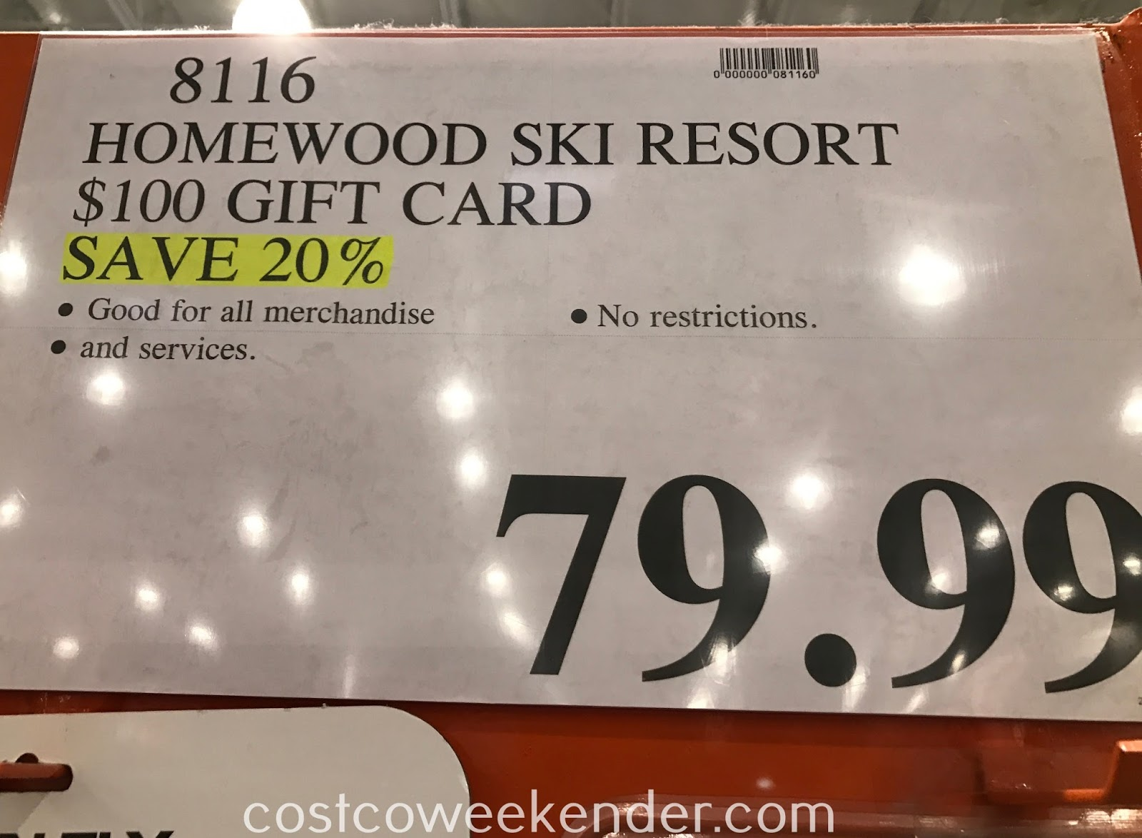 Costco 8116 - Deal for a $100 gift card to Homewood Mountain Ski Resort at Costco