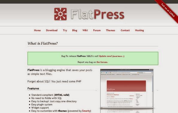 FlatPress flat-file blogging software