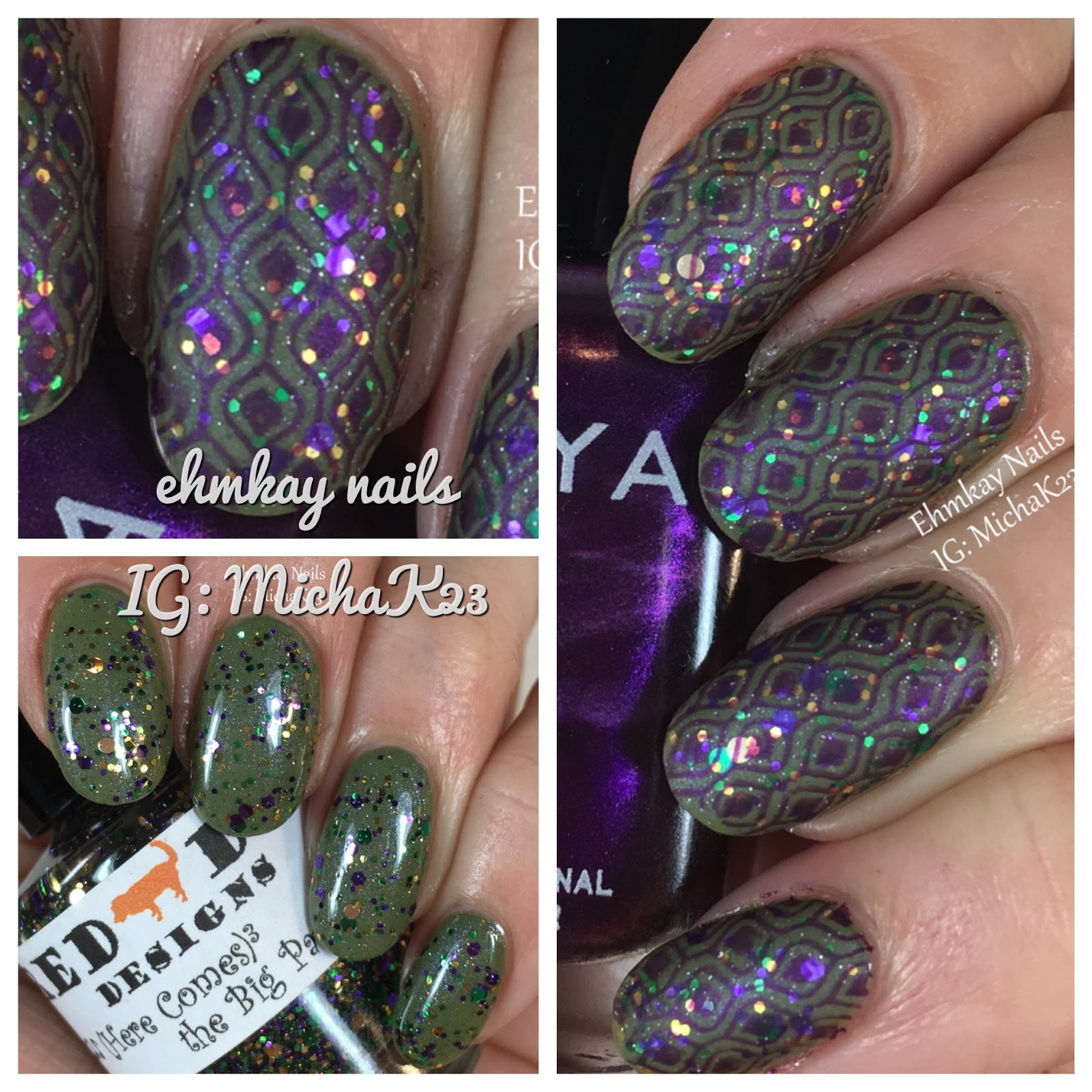Ehmkay Nails: Mardi Gras Nail Art: Festive Layered Stamping