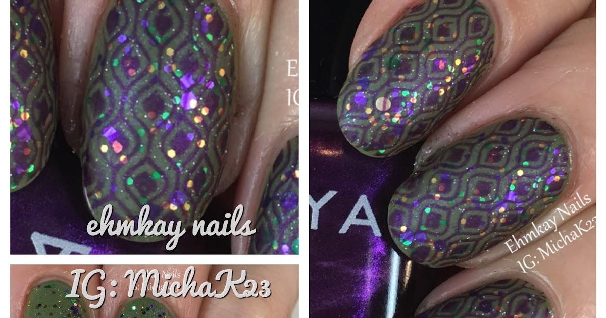 Ehmkay Nails Mardi Gras Nail Art Festive Layered Stamping