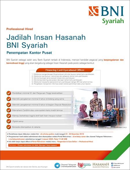 Rekrutmen Tenaga Pegawai Bank BNI Syariah Terbaru Tahun 2020