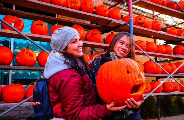Carving pumpkins at The Great Highwood Pumpkin Festival. Image credit of Celebrate Highwood.