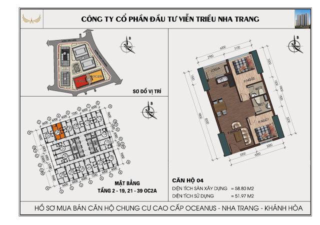 Sơ đồ căn hộ số 04 tòa OC2A Viễn Triều Nha Trang