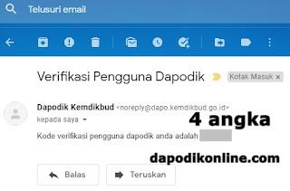 Buka email untuk melihat kode verifikasi pengguna dapodik