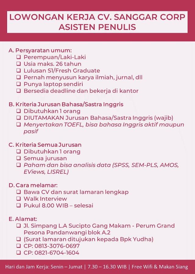 Loker Malang Terbaru CV. Sanggar Corp