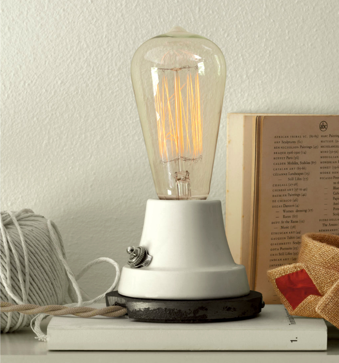 Like this ion lamp most if not all of the schoolhouse lamps are finished off with a twisted cloth cord and a vintage style wall plug