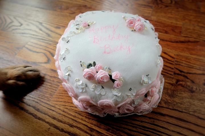 hand stitched fabric birthday cake