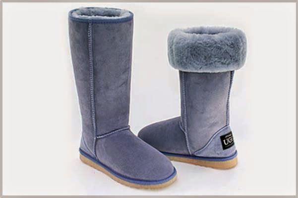 Baby Blue Tall Sheepskin Boots