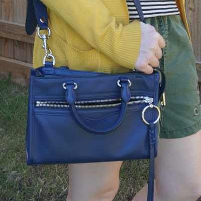 Rebecca Minkoff Micro Bedford zip satchel in twilight navy with mustard cardigan | awayfromblue