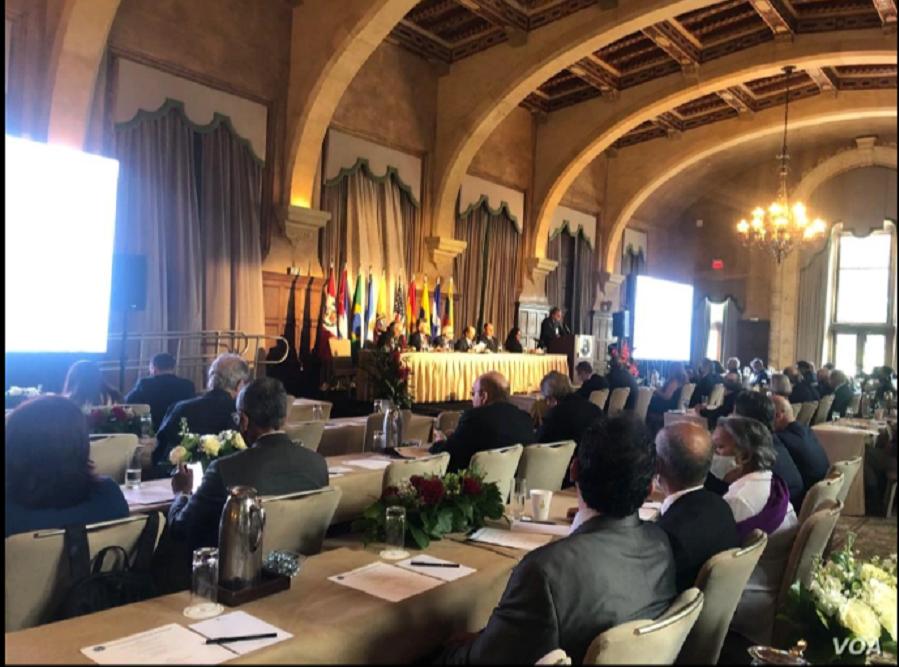 Imagen de reunión de la Sociedad Interamericana de Prensa (SIP), el miércoles 5 de mayo de 2021 / VOA