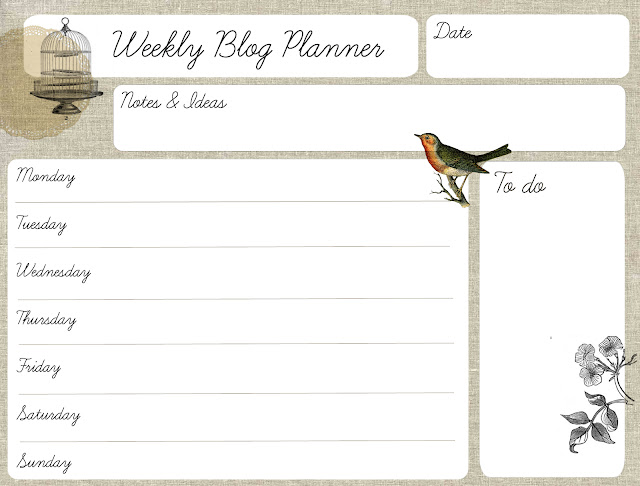 Oh the lovely things Free Printable Weekly Blog Planner - Free Printable Weekly Planner