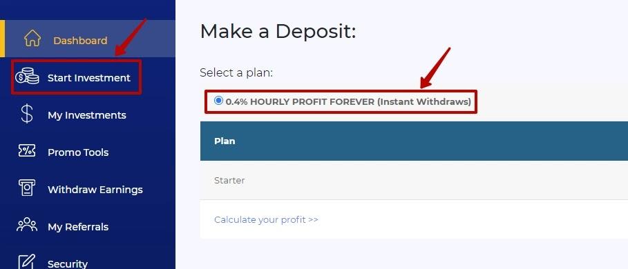 Создание депозита в BTC Millionaire
