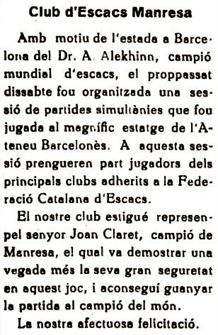 Recorte de El Dia (Manresa), 29/1/1935