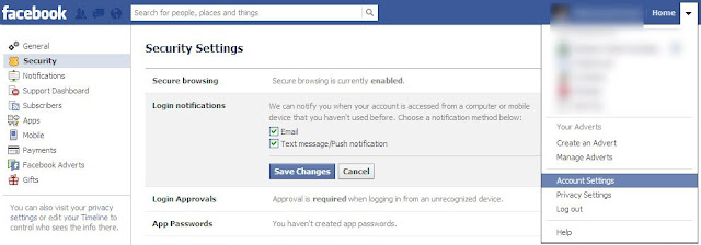 enable login notifications to increase security of your facebook account