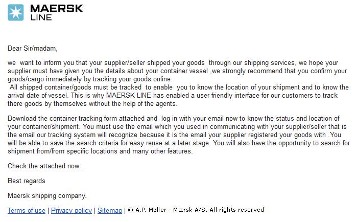 Dynamoos Blog Maersk Line Shipping Phish - Maersk invoice tracking