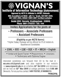 VIIT Vignan's Institute of Information Technology, Visakhapatnam Recruitment 2019 Assistant Professor Jobs