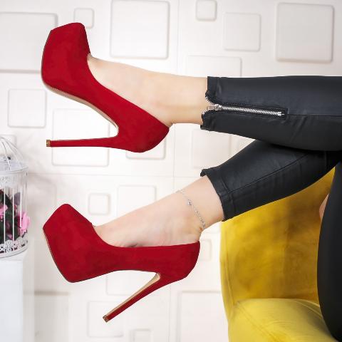 Pantofi dama cu toc si platforma rosii din piele intoarsa